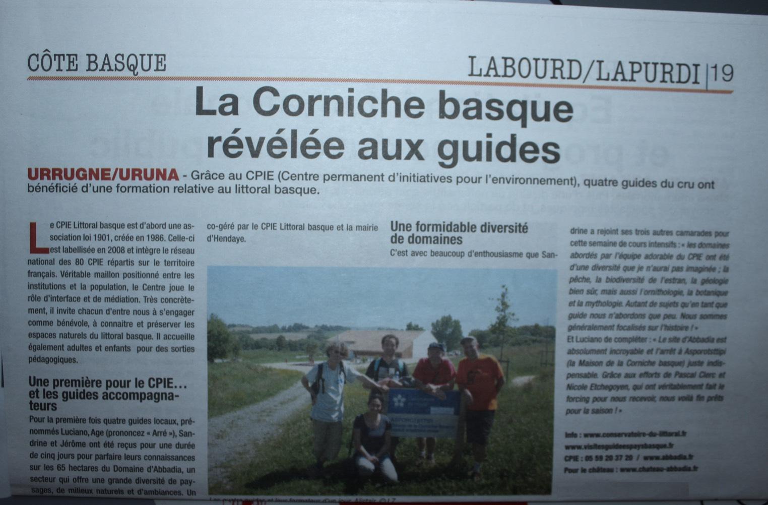 Articles dans la semaine du Pays basque sur la corniche basque